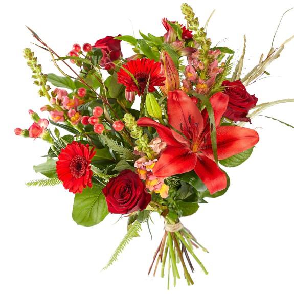 Boeket Gemengde rode bloemen