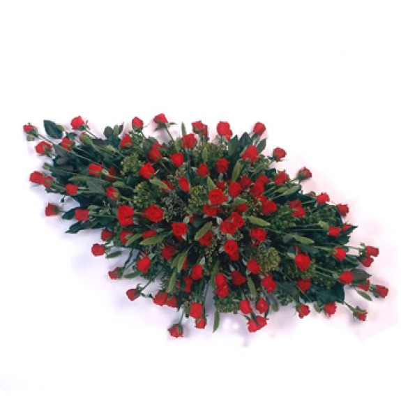 Rouwarrangement met rode rozen