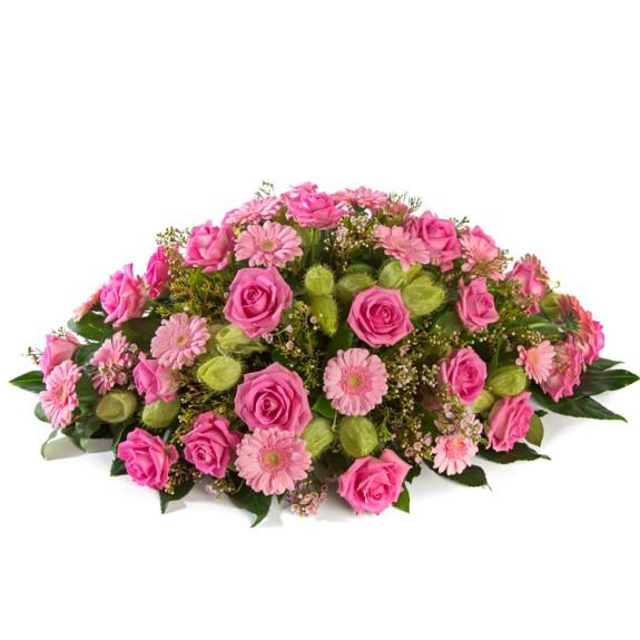 Rouwarrangement roze tinten