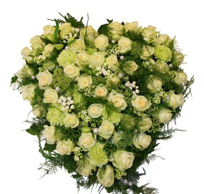 rouwstuk hart wit roos